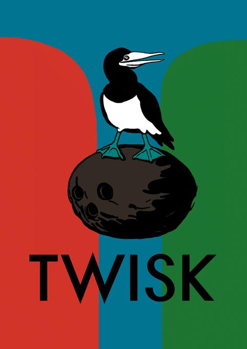 Tölpel auf Kokosnuss –Plakat für TWISK von e_mol. Erhältlich beim Konzert#4 am 01.10. im Grünen Jäger.